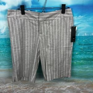 Mossimo Gray Striped Linen Blend Bermuda Shorts 4